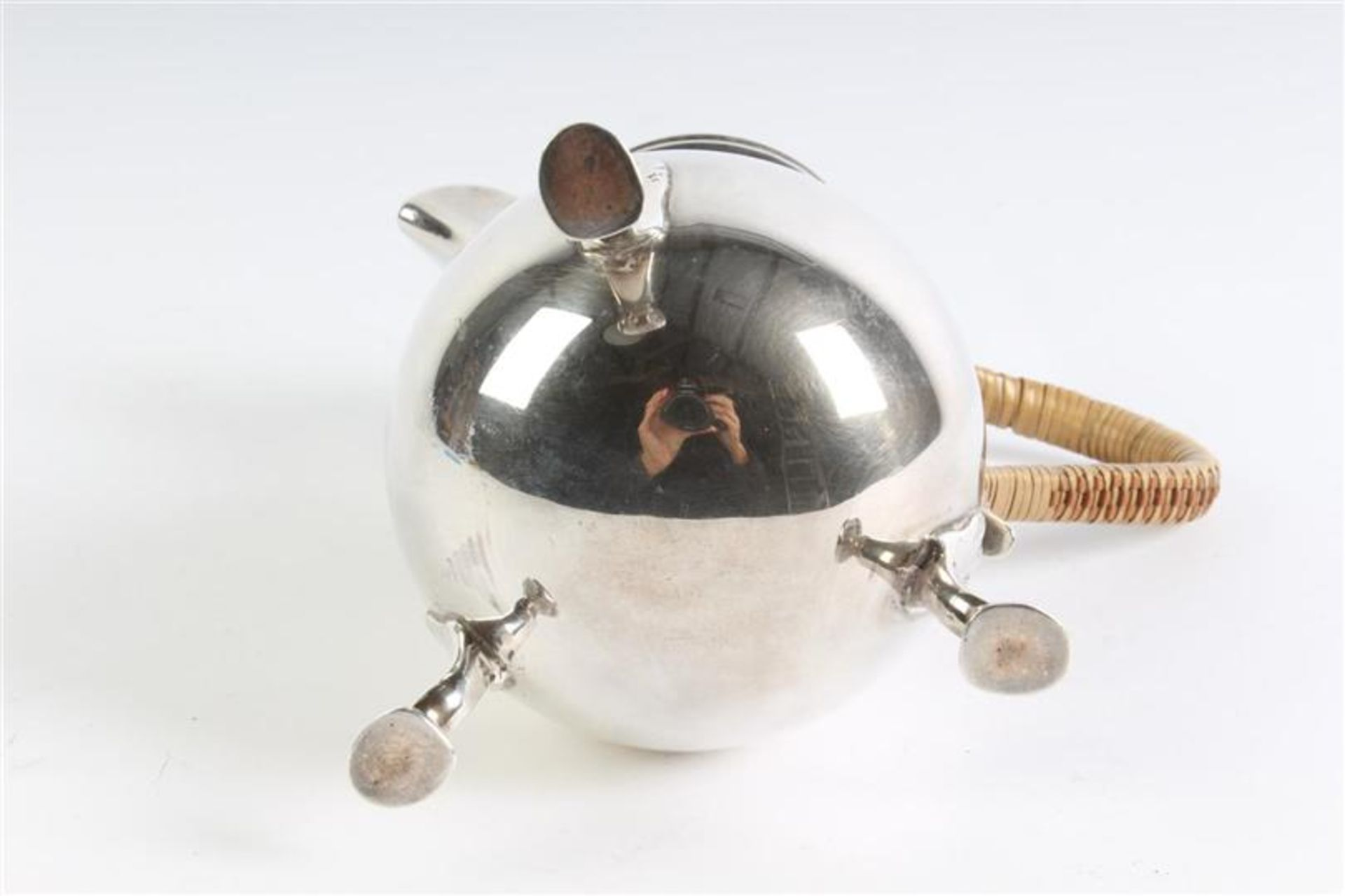 Zilveren kannetje met rotan oor, Engels gekeurd. Gewicht: 355.7 g. - Bild 5 aus 5