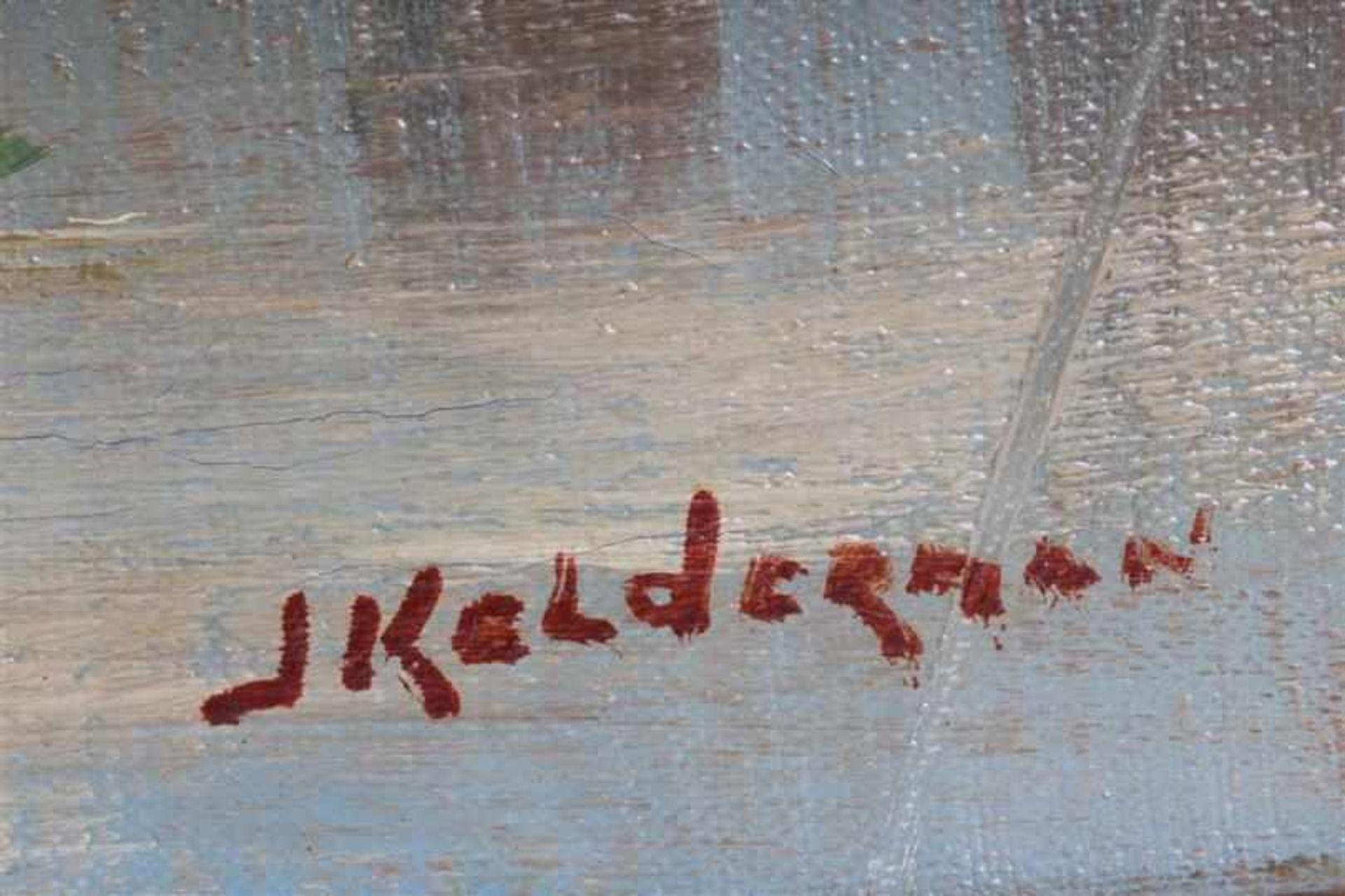 Schilderij, olieverf op doek, 'Gezicht op de Montelbaanstoren te Amsterdam'. Jan Kelderman (1914- - Bild 2 aus 3