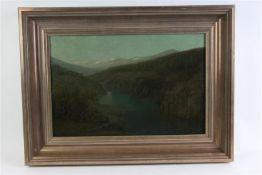 Schilderij, olieverf of paneel, 'Zomerse nachtstemming Suldal Noorwegen'. H.A. Oosterzee (1863-1933)