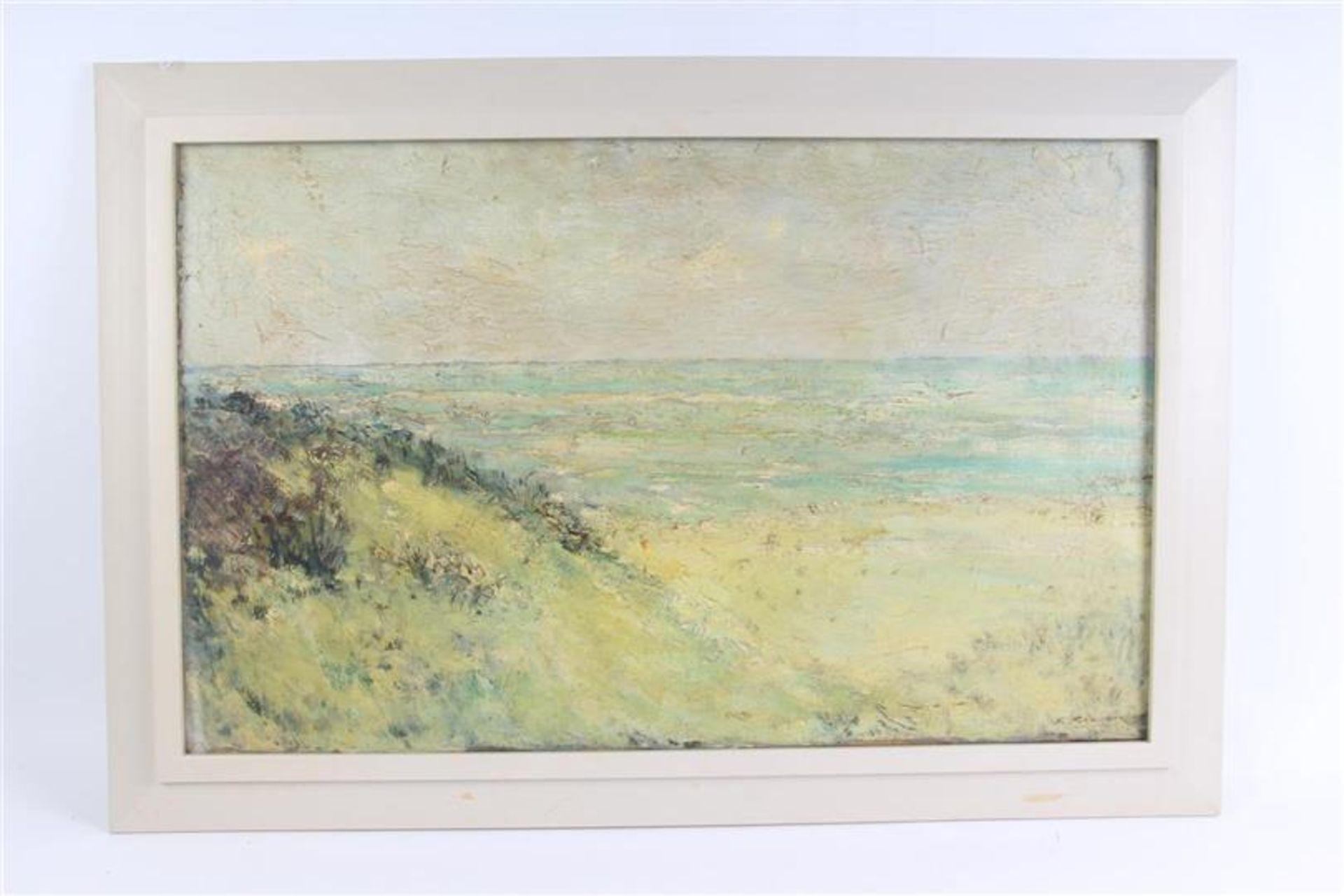 Schilderij, olieverf op doek 'Strandgezicht'. Simon Kramer (1880-1957) HxB: 49.3 x 79.3 cm.