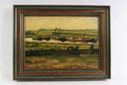 Schilderij, olieverf op board 'Poldergezicht', onduidelijk gesigneerd. HxB: 26.5 x 42.5 cm.