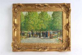 Schilderij, olieverf op doek, onduidelijk gesigneerd, 'Bloemenmarkt', verfverlies. HxB: 30 x 40 cm.