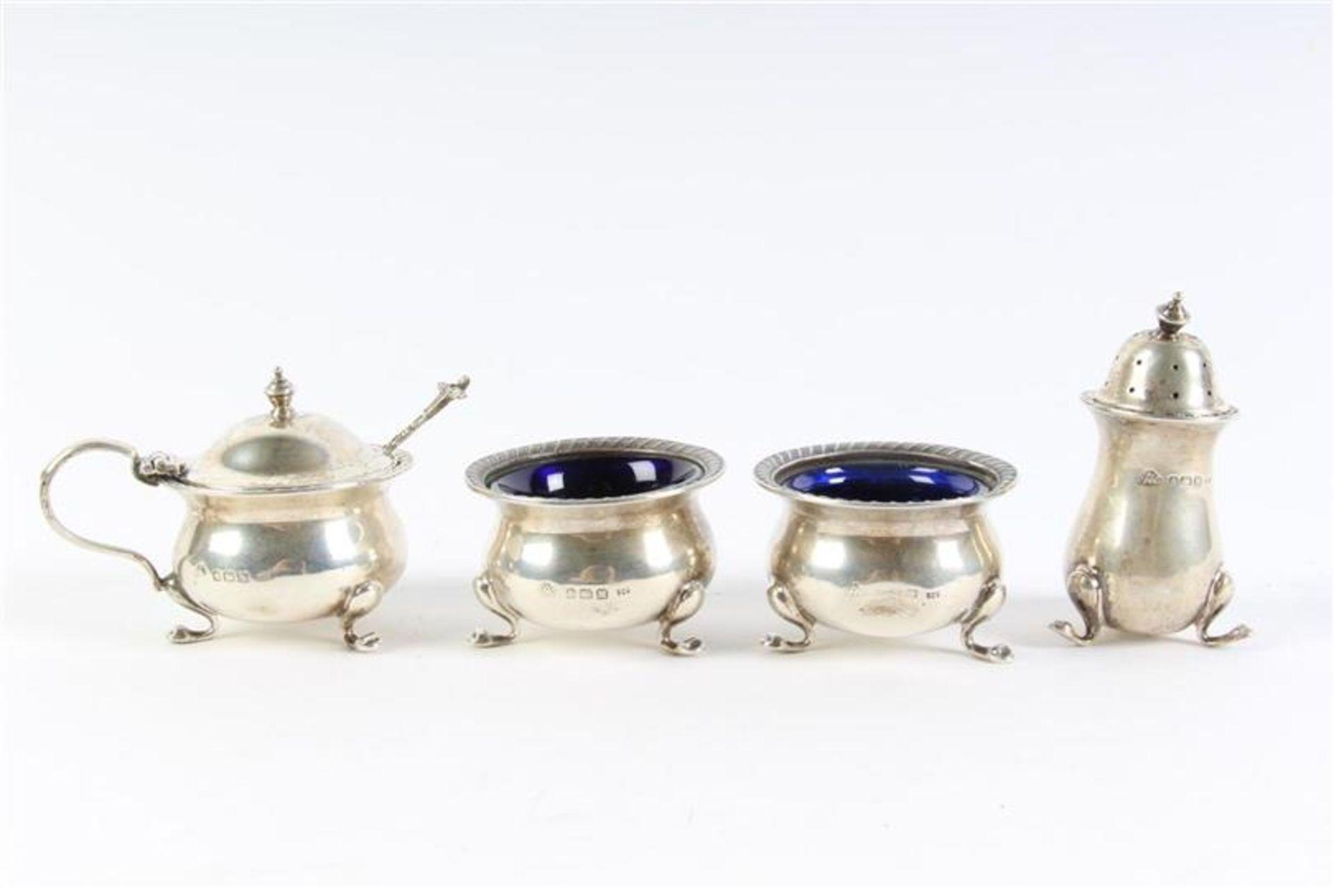 Vierdelig zilveren menageset, Engels gekeurd. - Bild 2 aus 2
