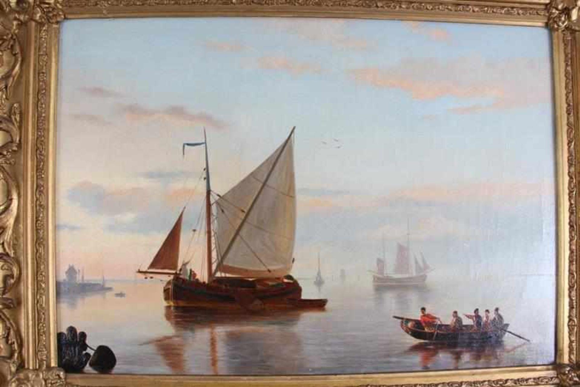 Schilderij, olieverf op doek, 'Zeegezicht', naar H. Koekoek. HxB: 30 x 42 cm. - Bild 2 aus 4