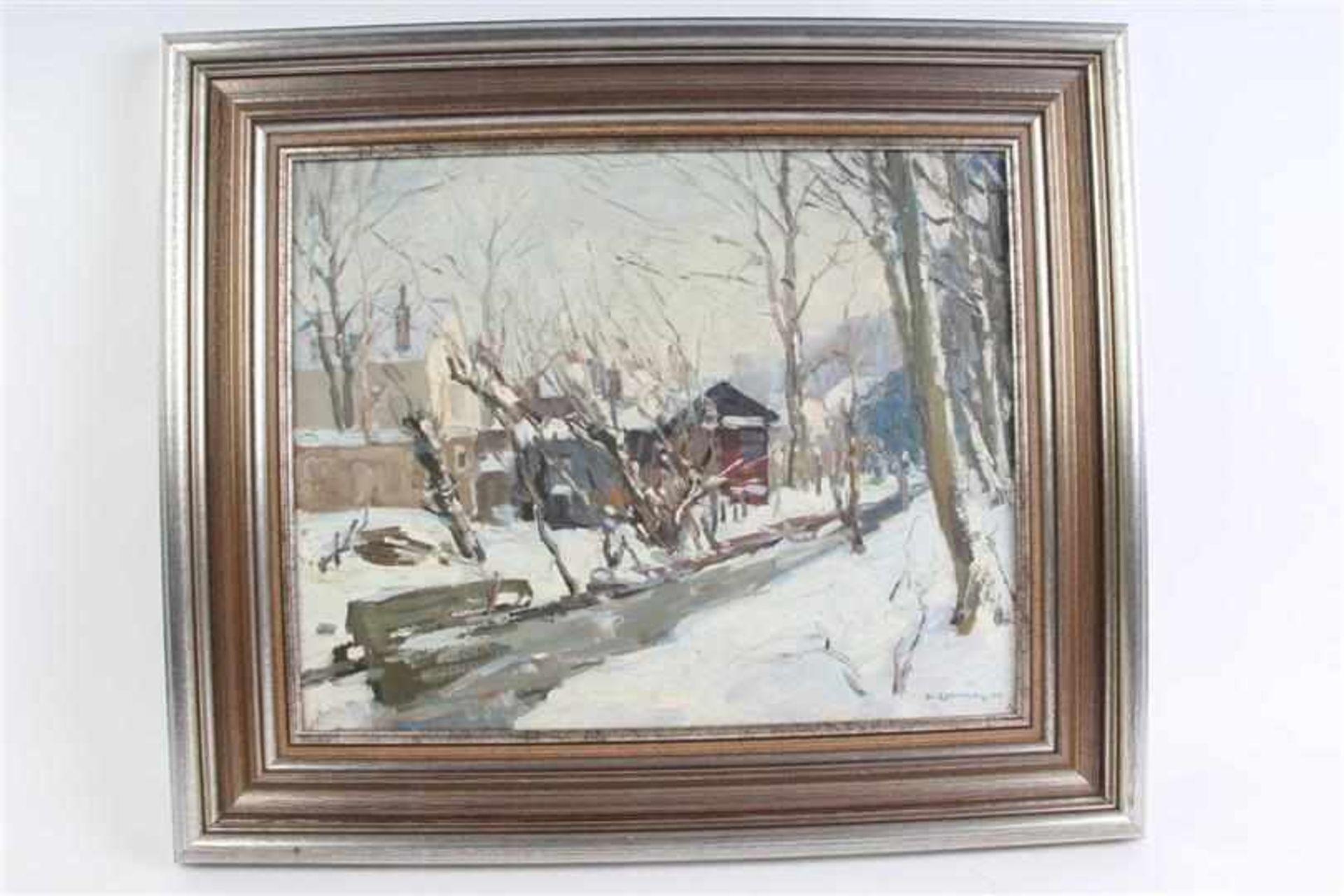 Schilderij, olieverf op doek, 'Dorpsstraatje in de sneeuw'. Hendrik Van Leeuwen van Oudewater (