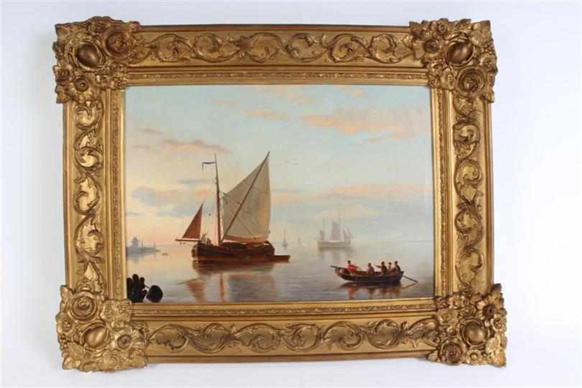 Schilderij, olieverf op doek, 'Zeegezicht', naar H. Koekoek. HxB: 30 x 42 cm.