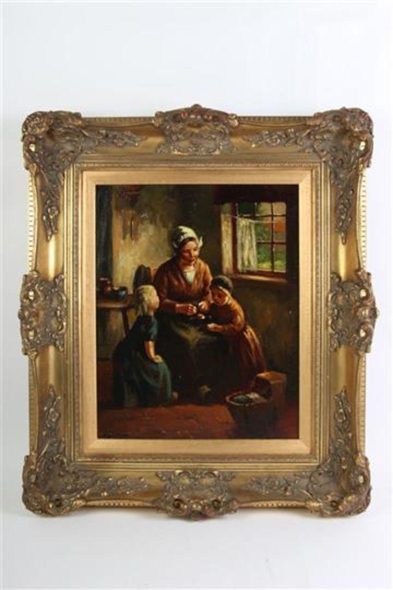 Schilderij, olieverf op doek, 'Interieur'. Henk van Leeuwen (1890-1972) HxB: 50 x 40 cm.