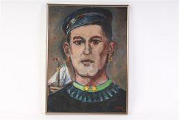 Schilderij, olieverf op doek, 'Portret van een man uit Arnemuiden'. HxB: 39 x 29 cm.