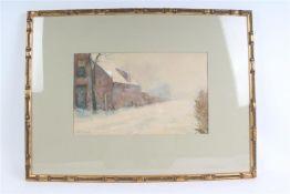 Aquarel, 'Straatje in de winter'. W.J. Schütz (1854-1933) HxB: 24.5 x 40.5 cm.