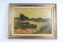 Schilderij olieverf op doek, 'Plasgezicht', gesigneerd H. Endlich. Jan Knikker sr. (1889-1957)