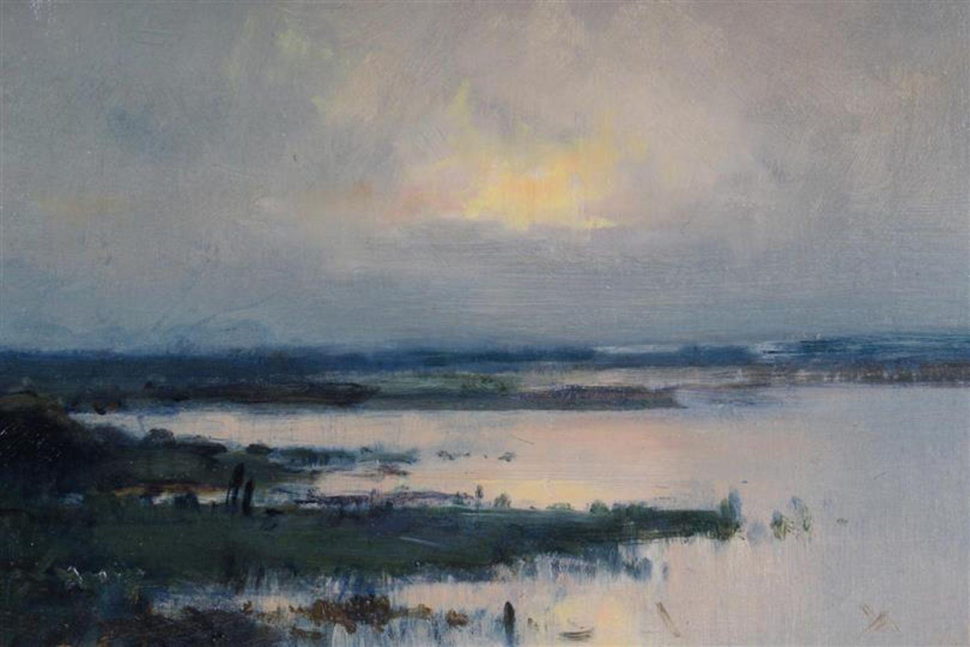 Schilderij, olieverf op board, 'Vennetje'. J. Sax (1899-1977) HxB: 25.5 x 33.5 cm. - Bild 3 aus 4