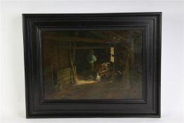 Schilderij, olieverf op doek 'Stalinterieur', gesigneerd Jorg witjens. HxB: 30 x 50 cm.