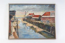 Schilderij, olieverf op papier 'Haventje Yerseke'. HxB: 29 x 39 cm.