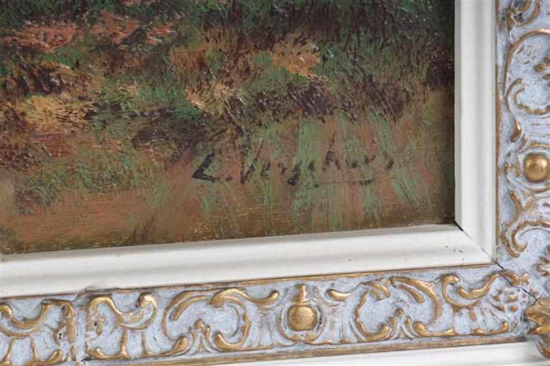 Schilderij, olieverf op doek, 'Koeien aan de waterkant'. C Verschuur ( Cor Bouter) (1888-1966) - Bild 2 aus 3