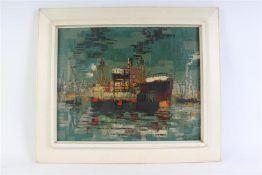 Schilderij, olieverf op linnen 'Schepen in de haven', gesigneerd A. van Gogh. HxB: 40 x 50 cm.