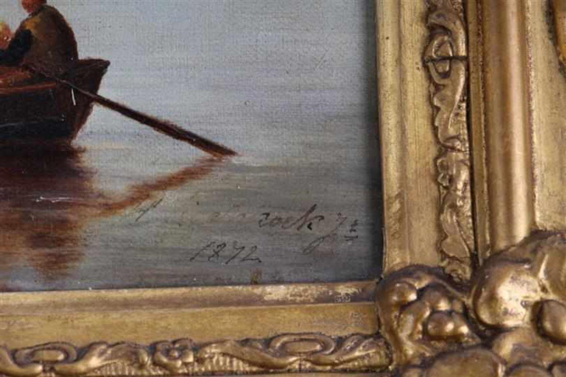Schilderij, olieverf op doek, 'Zeegezicht', naar H. Koekoek. HxB: 30 x 42 cm. - Bild 3 aus 4