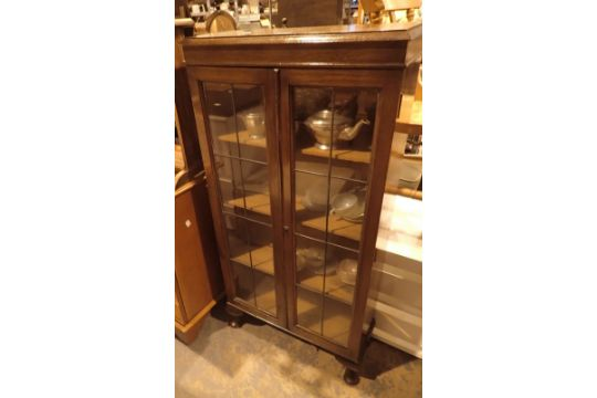 oak display cabinet with lead glass doors and contents no key