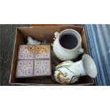 Box of Brass & Pottery Items