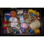 Crate of assorted Wool, Threads and other Craft Items
