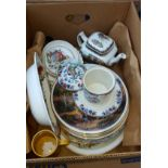 Box of Assorted Pottery & Decorative Plates with Country Scenes