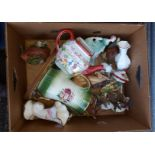 Box of Assorted Animal Figures & China Items