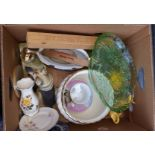 Box of Assorted China Pottery Cigars & Glass