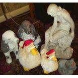 Group of 6 Plaster, Resin & Plastic Garden Figures No Reserve