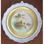 Victorian Edwardian Hand Painted Framed Plate 'Pheasants'