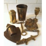 Seven Vintage Brass Items Includes Pounce Pot, Table Lighter & Possible Trench Art