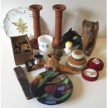 Vintage Retro Parcel of Candle Sticks, Jewellery, Treen, Boxes etc
