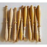 10 Vintage Wooden Lace Bobbins 7cm to 10cm long NO RESERVE