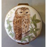 Vintage Retro Crummles English Enamels Country Life Owl Pill Box