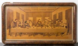 Bildplatte, Intarsienarbeit aus versch. Edelhölzern, Darst. d. letzten Abendmahls, wohl um 1910/