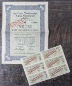 """Aktie """"Perleberger Versicherungs-Aktien-Gesellschaft zu Perleberg"""", 1000 Mark D.R.W., Nr. 07071A."""