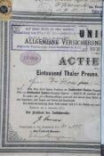 """Aktie """"Union Allgemeine Versicherungs-Actien-Gesellschaft zu Berlin"""", 1000 Thaler Preuss."""