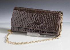 Kleine Coco Chanel Handtasche, braun hochglanz, aufwendige Inneneinteilung mit Portmonee, Fächer für