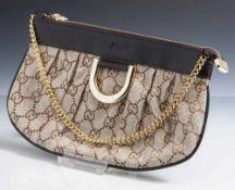 Gucci Handbag, kleine Handtasche aus Stoff u. Leder, Tragegriff Metall vergoldet. 1