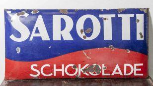 Emailblechwerbeschild Sarotti Schokolade, Plakatfabrik Stark & Riese Tannroda. Emailierung in