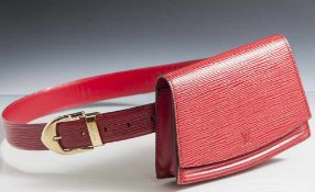 """Louis Vuitton Gürteltasche, wohl 1990er Jahre, rot, Tasche innen Nr. """"V.I. 0991"""", Gürtel Nr. """""""