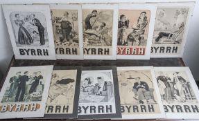 """Konvolut von 5 Werbeplakaten m. der Aufschrift """"BYRRH"""" (bittersüßer, franz. Aperitif), Frankreich,"""