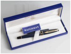 Füllfederhalter, Waterman Paris, kobaltblau u. schwarz mit vergoldeten Beschlägen. In org. Etui,