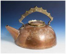 Sehr interessanter Entwurf eines großen Wasserkessels, Art Déco, 1920er Jahre, Kupfer u. Messing, am
