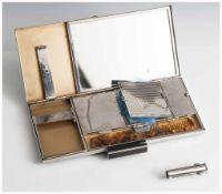 """Schminkschatulle, Zigarettenbox, Art Déco, innen bez. """"Charmeuse Modele Depose, Made in France"""","""