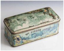 """Rechteckige Blechdose """"WM Rieger Frankfurt a/M"""", um 1900. H. ca. 8 cm, ca. 20 x 9,5 cm, partiell"""
