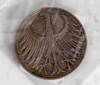 1 Silbermünze, Silberadler, 5DM, BRD, 1957 F.