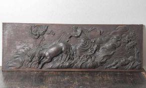 Flachrelief mit Darst. einer wohl mythologischen Szenerie, 19./20. Jahrhundert, Eichenholz, feine