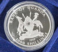 Silbermünze, 1000 Shillings, Uganda, 1999, PP, Panthera Tigris Tigris, Münze in Kapsel.