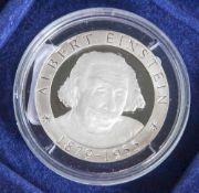 Silbermünze, 500 Francs, Togo, 2001, PP, Albert Einstein 1879-1955, Münze in Kapsel.