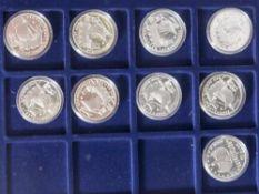9 Silbermünzen, 10 Euro, 2006, BRD, PP, 650 Jahre Städtehanse, Münzen in Kapsel und blauer