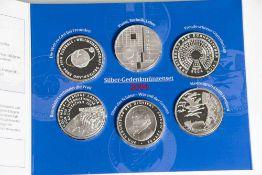 6 Silber-Gedenkmünzen, 10 Euro, 2004, Bundesrepublik Deutschland, PP, darunter FIFA-Fussball-WM